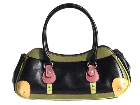 Vegan Shoes & Bags: Vegan Crescent Satchel in Multi-Colored :  mutlicolor purse vegan