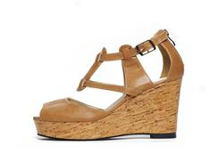 Pia T-Strap Buckle Wedge by Cri de Coeur