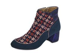 Karolina Velvet Boot by Ruby Shoo in Navy